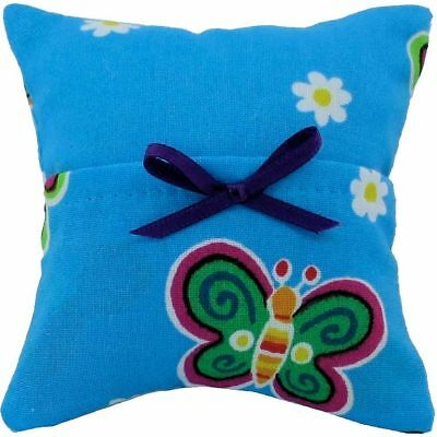 Tooth Fairy Pillow, blue, butterfly print fabric, purple bow trim for girls
