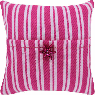 Tooth Fairy Pillow, pink & white stripe fabric, shiny pink star bead trim, girl