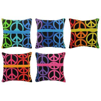 Tooth Fairy Pillow, black, peace sign print fabric, choice of color for girls