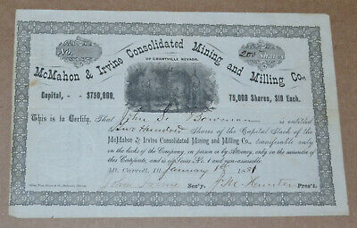 McMahon & Irvine Consolidated Mining and Milling Co. 1881 antique stock certific