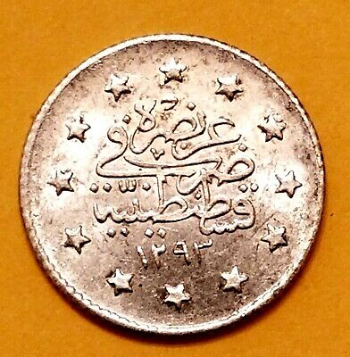1876 TURKEY-OTTOMAN EMPIRE SILVER 0.8300 COIN 2 Qirsh 1293/29 VF.