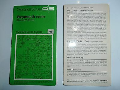 VINTAGE OS ORDNANCE SURVEY 1:25 000 Second Series WEYMOUTH North  Sheet SY 68/78
