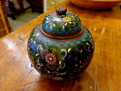 An Interesting Japanese Meiji period Green ground Cloisonne footed jar