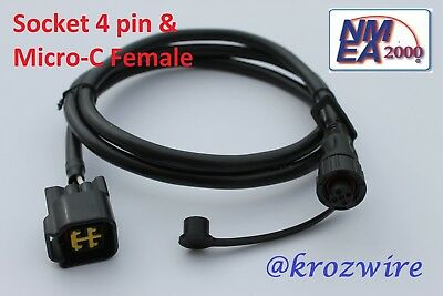 Lowrance Yamaha Engine Interface Cable Socket 4-pin NMEA 2000 direct to Display