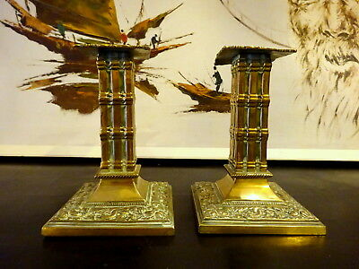 Antique Aesthetic Gothic Style Heavy Victorian Brass Candlesticks W. Tonks