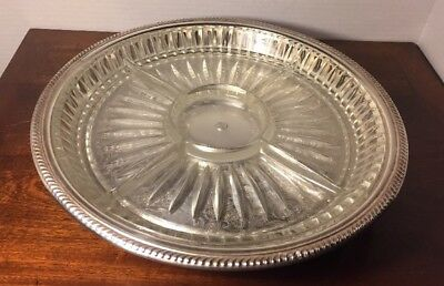 Eton Silverplate  Pedestal Tray With Divided Glass Insert