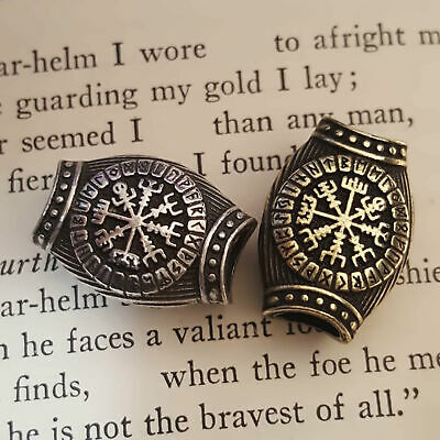 Viking Norse Celtic Knot Beard Hair Jewelry Bead Vegvisir Rune