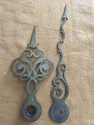 Pair of vintage Brass style grandfather or longcase clock hands spares repair