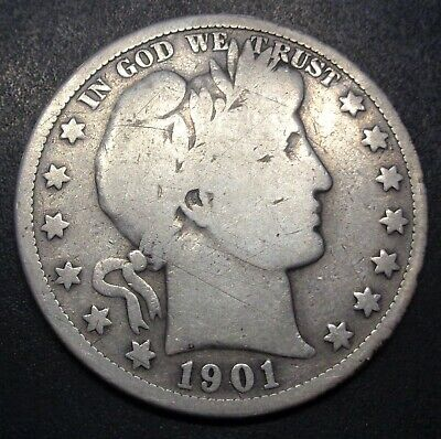 Very RARE date 1901 S San Francisco Barber silver 50C half dollar C.C.C. listing