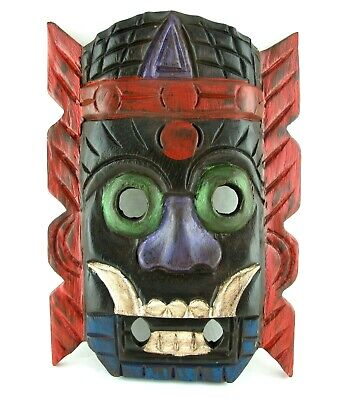 Hand Carved Wooden Tribal Mask Painted Ceremonial Demon Monster Tiki Wall Decor