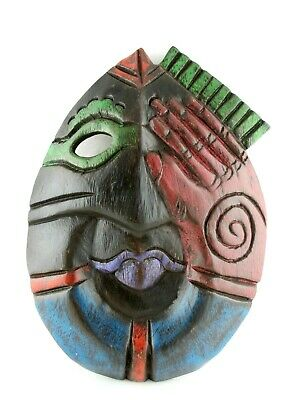 Hand Carved Wooden Tribal Mask Painted Ceremonial Asian Bali Tiki Wall Art Decor