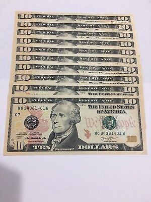 10 --$10 dollar bills (Total $100) uncirculated us currency