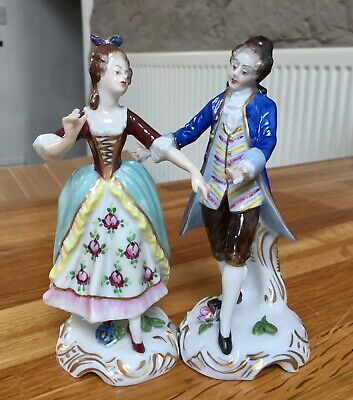 Antique Volkstedt Thuringa Figurines Of A Couple Dancing V20657 & V20658