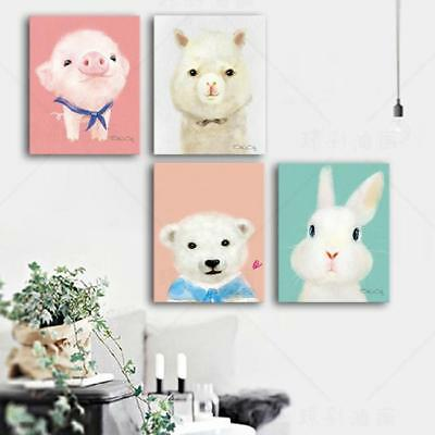 Framed Home Decor Cartoon Animals Canvas Prints Painting Wall Art Poster WE