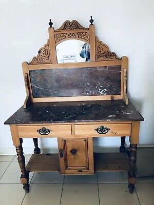 Antique Victorian Pine Washstabd With Marble Top