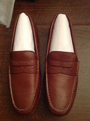 86bdc7e50a2 Cole Haan Men s MotoGrand Lighter Brown Leather Driving Penny Loafers11.5M  NIB