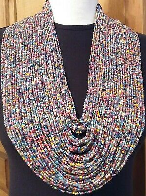 Over The Top Multicolored Ethnic Glass Resin Seed Beads Statement Long Necklace