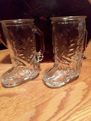 Vintage Mexico Cowboy Boot Shaped Beer Mugs/Glass 2 Brand New Mugs