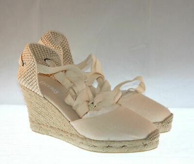 296d8c1bc90b NEW SOLUDOS SZ 9 TALL WEDGE LACE-UP ESPADRILLE SANDAL BLACK LINEN ...
