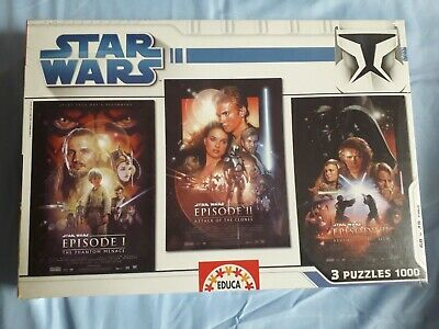 puzzle / jigsaw - educa - star wars - prequel trilogy - 3 x 1000 pieces - neuf