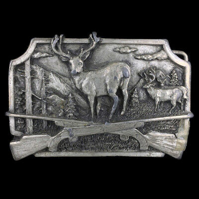 Vtg Deer Hunter Hunting Hunt Wildlife Nature Art Artwork Pewter Belt Buckle