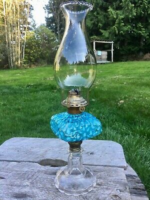 1800's Antique Blue Snowflake Oil Lamp with Clear Base