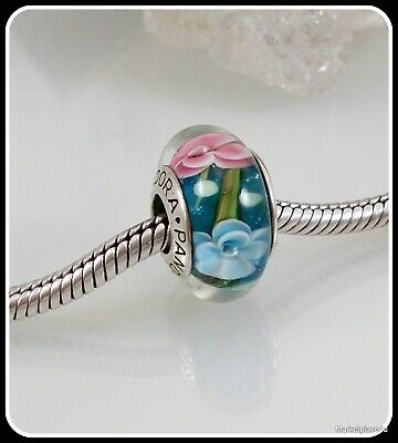 Authentic Pandora Sterling Silver Blue Bead Murano Glass Pink White Flower  #A45