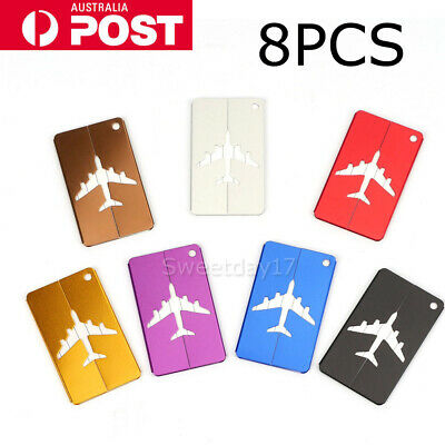 8X Aluminium Luggage Tags Suitcase Label Name Address ID Bag Baggage Tag Travel