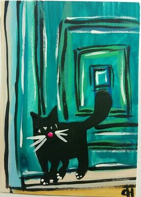 ACEO ORIGINAL BLACK CAT TEAL DOOR  FOLK ACRYLIC WATERCOLOR  2000-now