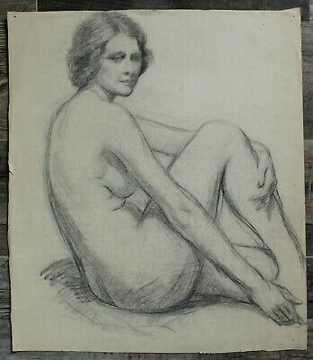 Listed Canadian Stanley Gordon Moyer (1887-1968) Drawing - Nude Female No.6