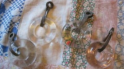 Lot of 4 Vintage Antique Circular Glass Curtain Rings with Metal Clamps