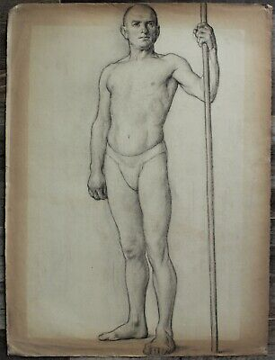 Listed Canadian Stanley Gordon Moyer (1887-1968) Drawing - Nude Male