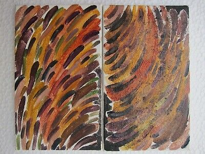 Abstract Art Original Oil Painting Autumn Leaves Landscape Trees Bushes Set of 2