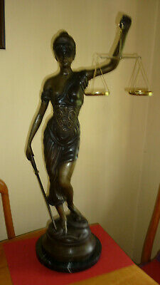 LADY OF JUSTICE - LARGE AND HEAVY - CAST IN BRONZE ON MARBLE BASE, WEIGHS 10Kgs