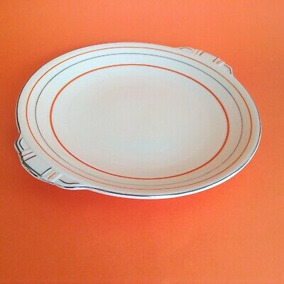 ANTIQUE 1930s ART DECO BANDED GRINDLEY SERVING CAKE PLATE ORANGE SILVER CREAM