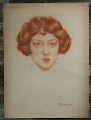 Canadian Stanley Gordon Moyer (1887-1968) - Signed Sanguine Portrait Drawing 6