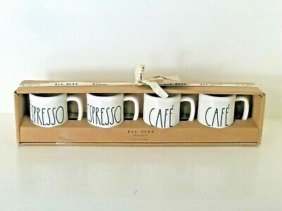 Rae Dunn New Espresso Cafe Large Letter Mini Mug Set LL