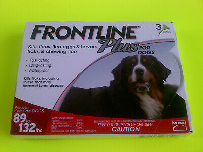 FRONTLINE PLUS Dogs 89-132 lbs XL 3 Month pack Doses Kills Fleas / Ticks / Lice