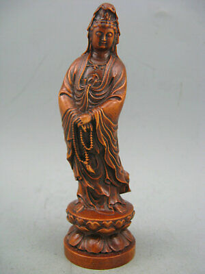 Antique Chinese Old Boxwood Hand Carved Kwan-Yin Collectible Statue