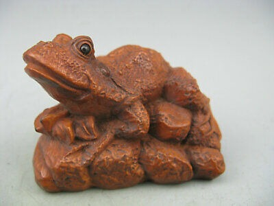 Antique Chinese Old Boxwood Hand Carved Frog Collectible Statue