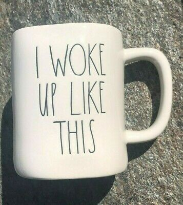 New Rae Dunn I WOKE UP LIKE THIS Artisan Mug Black Large Letters HTF LL Magenta