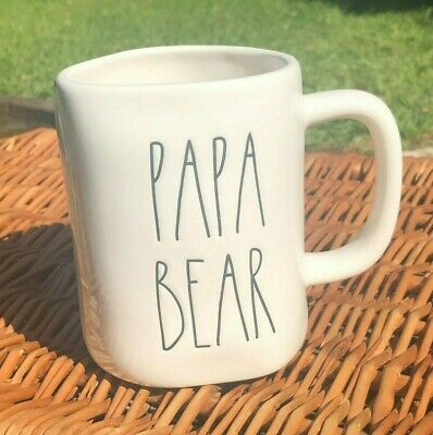 New Rae Dunn PAPA BEAR Artisan Mug Black Large Letters LL Magenta Father's Day