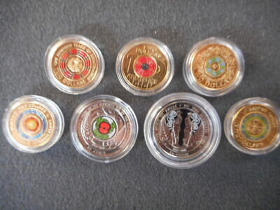 100 yrs of repatriation anzac remembranc coloured $2 coins set uncirculated