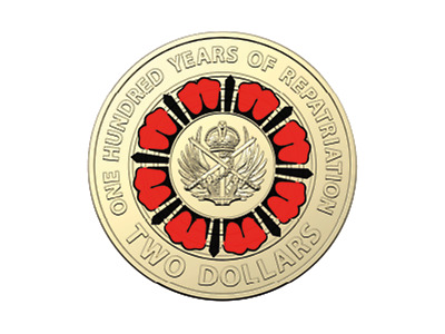 2019 $2 100 years of repatriation RED COLOURED COIN unc