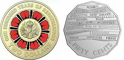 Australia 2019 UNC $2 Repatriation Cent & 50c Indigenous Languages (ex Mint Bag)