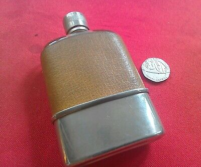 Vintage small glass leather bound hip flask