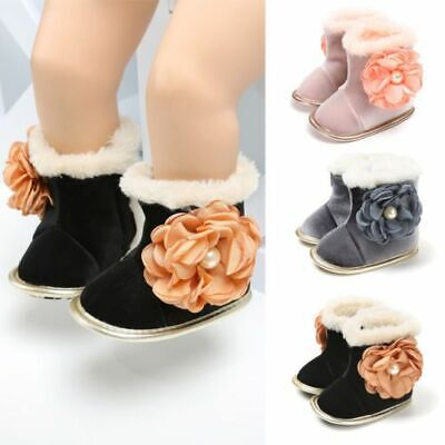 Baby Girls Floral Winter Snow Boots #V Soft Crib Sole Boots Toddler Newborn Shoe