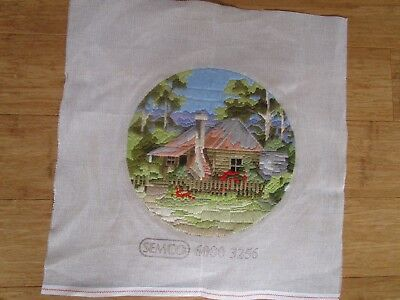 Completed Long Stitch Of A First Setters Cottage  29Cms Round.