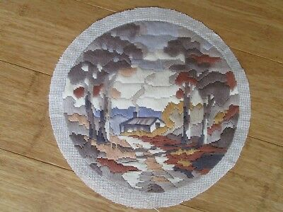 Completed Long Stitch Of A Bush Cabin 29Cms Round.