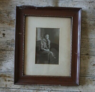 """Vintage 1920/30s Photo Wooden Frame with Photo of Lady Sitting Signed """"Glad"""""""